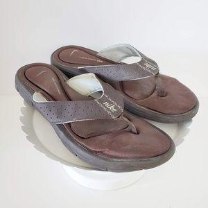 Nike Brown Memory Foam Flip Flops 10